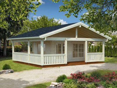 Bjælkehytte med veranda der forløbet rundt om hele huset. Se mere på solundhuse.dk