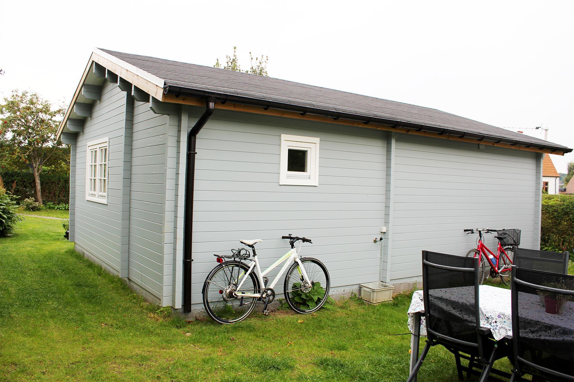 43,7 m2 Annelise bjælkehus set fra bagsiden. huset er fra sølundhuse billede er fra en kunde i Viby