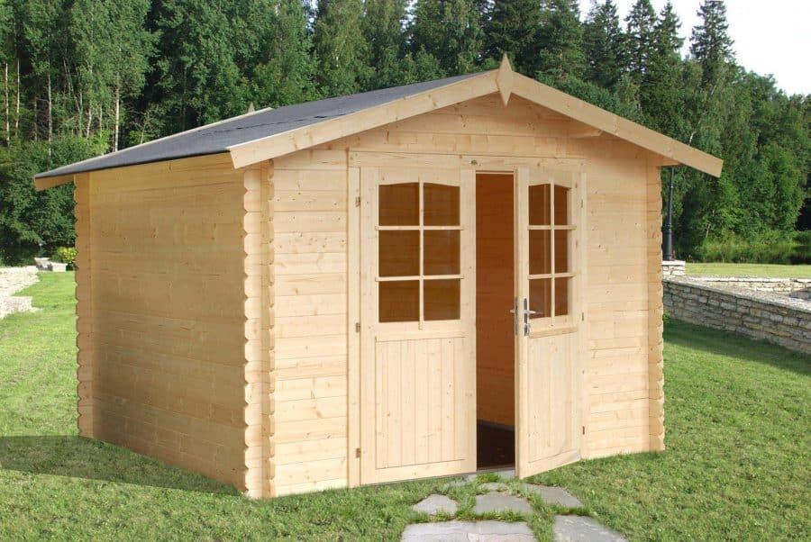 Dette skur fås hos sølund huse og er under 10 m2