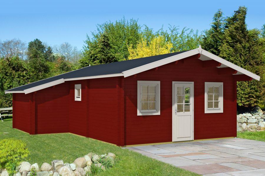 Dette 41 m2 Cecilie bjælkehus. Huset er velegnet til kolonihaven og levers som komplet samlesæt du kan byg selv fra solundhuse.dk