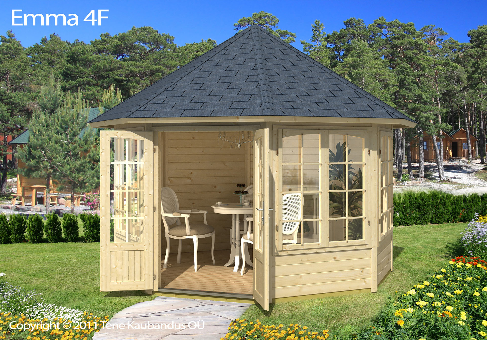 Magrethe 10m2 pavillon i træ med 4 vinduer fra solundhuse.dk