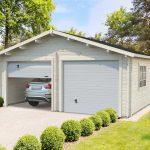 Sølund Huse - dobbelt garage i træ med ledhejseport