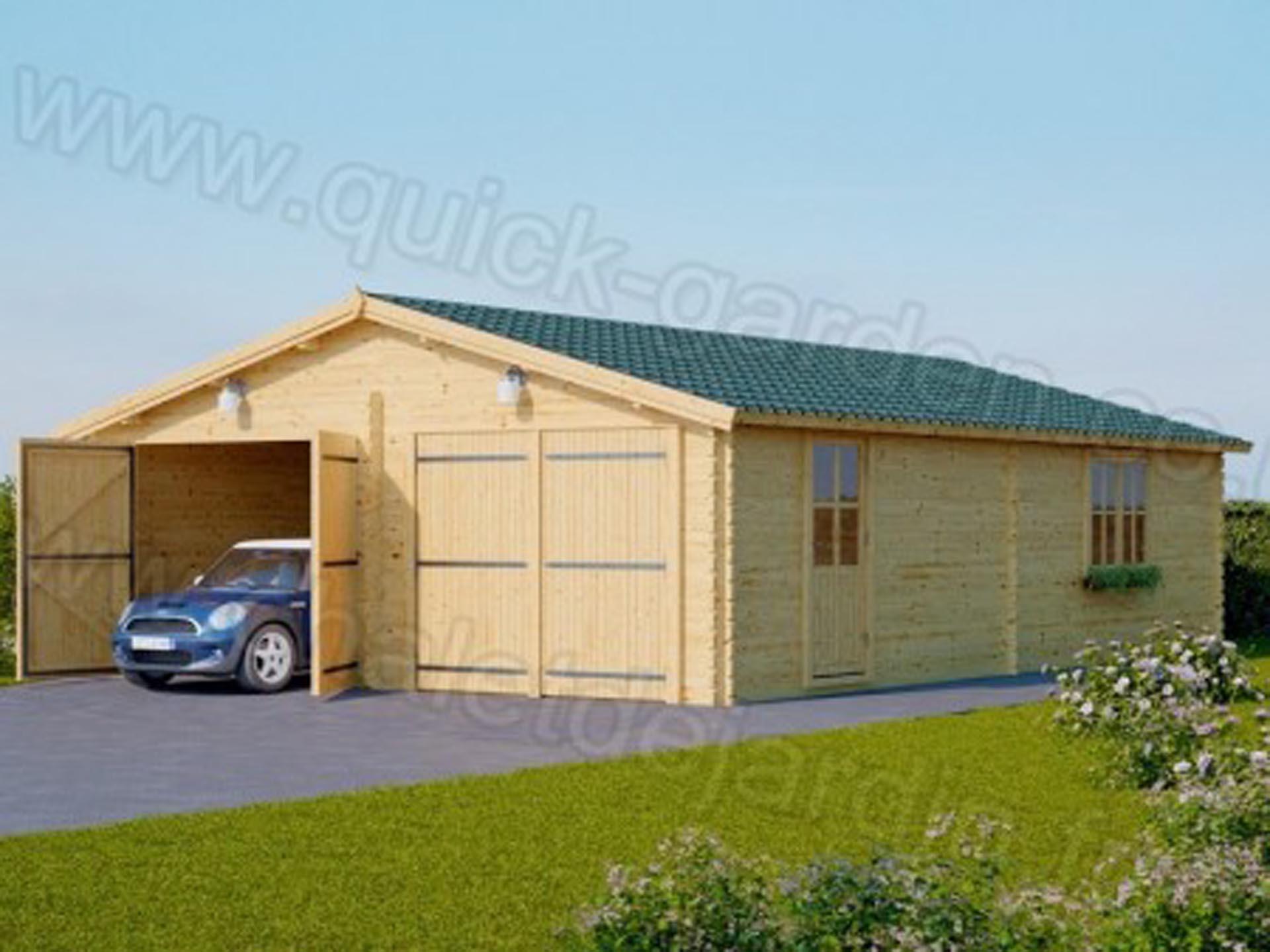 Sølund Huse: 49 m2 dobbelt trægarage - 66 mm vægtykkelse