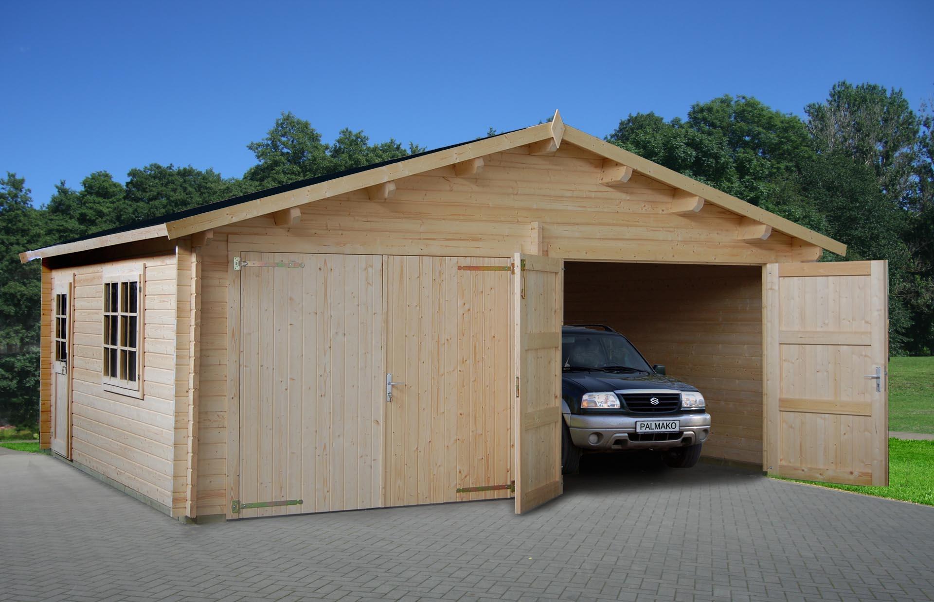 Ultra Dobbelt garage på 28m2 i træ   Køb som samlesæt du kan byg selv LJ57