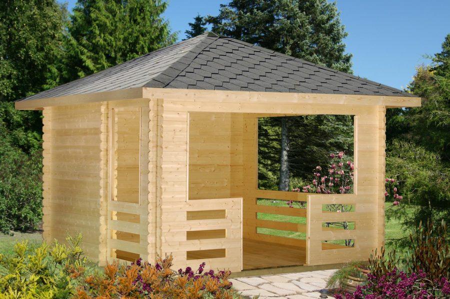 åben træpavillon