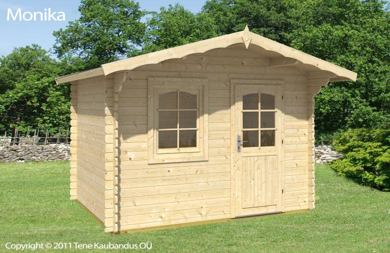 Monika er et solid træhus til haven leveres som samlesæt, du finder det på solundhuse.dk