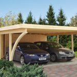 Dobbelt carport med skur fra solundhuse.dk leveres i træ og som komplet samlesæt