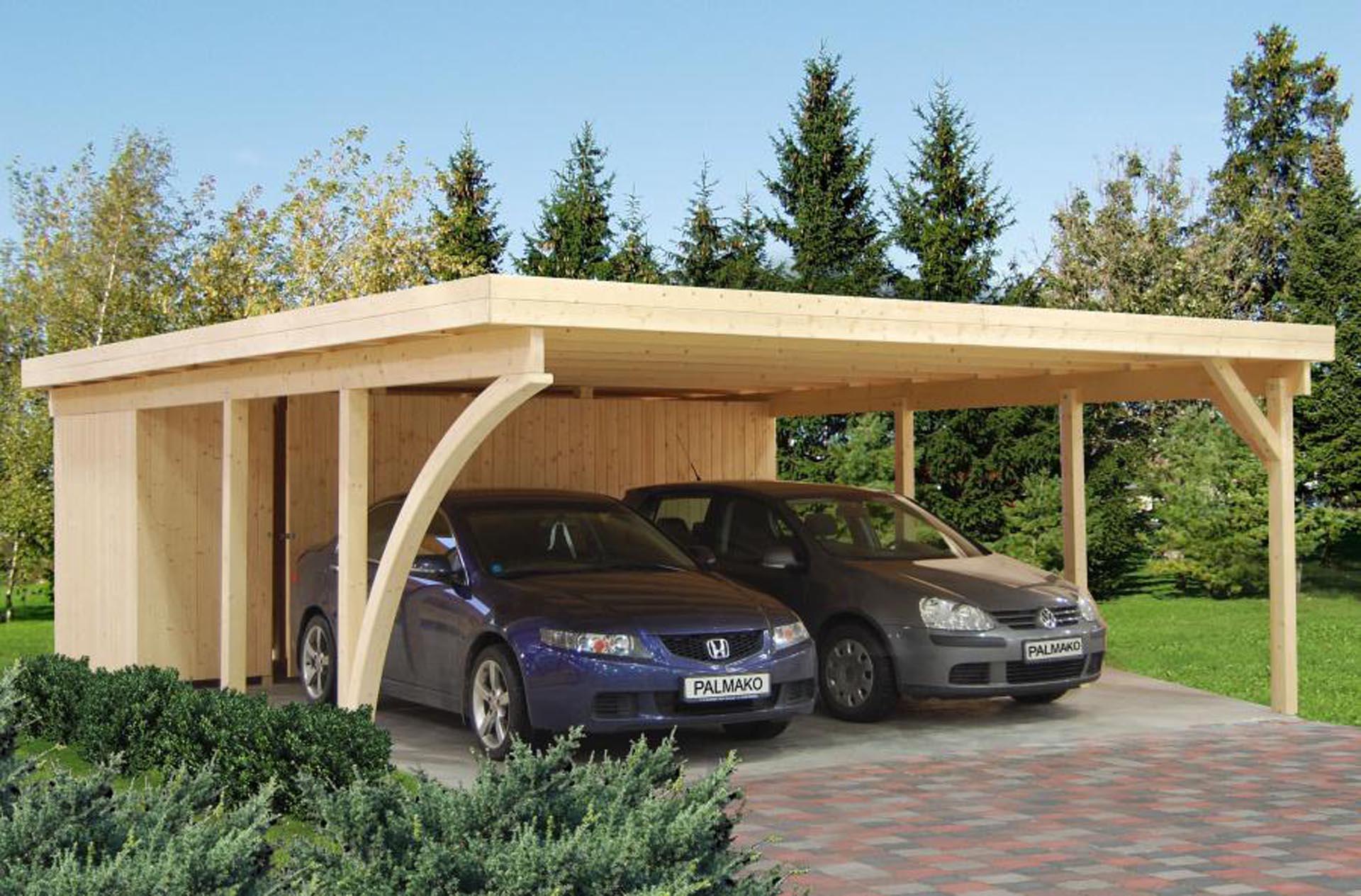 Fremragende Dobbelt carport med skur og plads til to biler | Se vores udvalg LP44