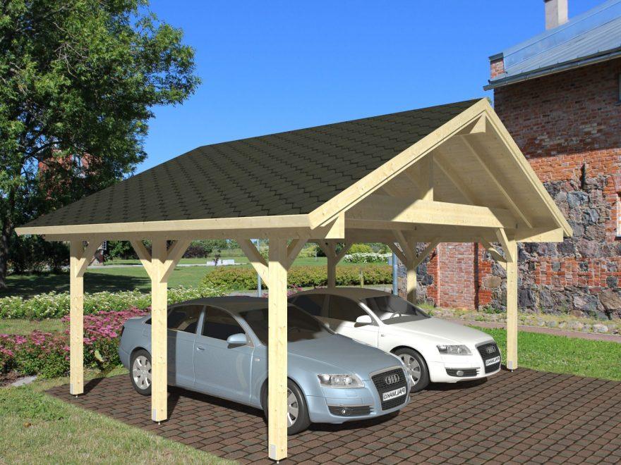 Dobbelt carport fra sølund huse, garagen er 21m2 og leveres som komplet samlesæt