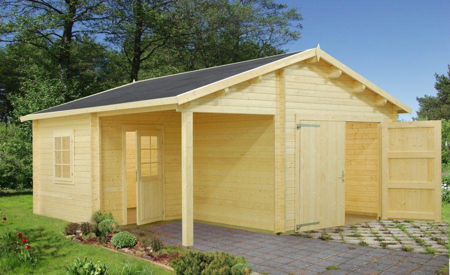 garage byggesæt fra sølundhuse med halvtag og redskabssrum