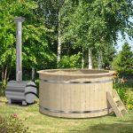 vildmarksbad med udvendig ovn fra solundhuse.dk leveres komplet og samlet