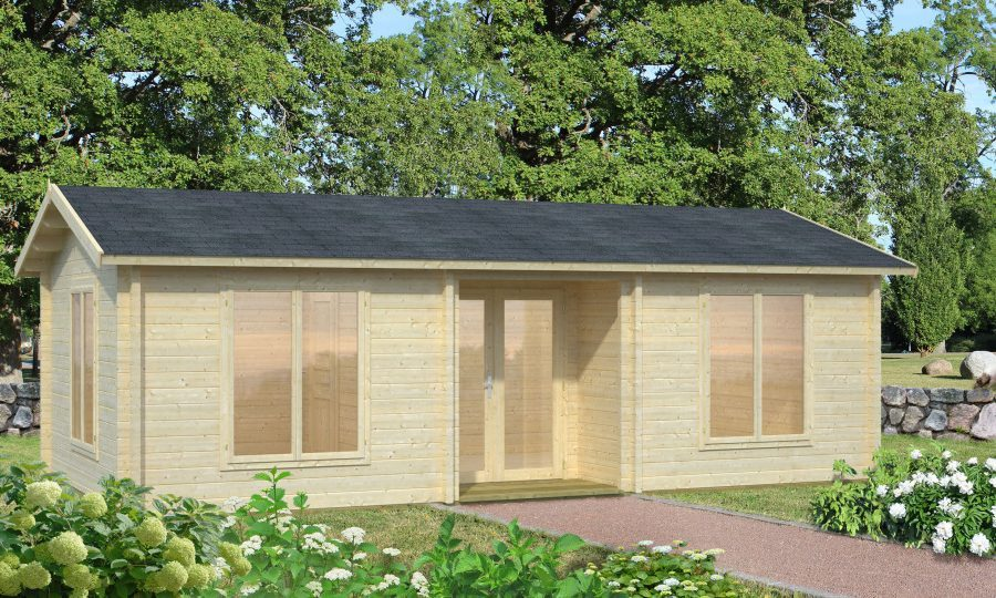 amber er et billigt byg selv kolonihavehus med store vinduespartier, som du finder på www.sølundhuse.dk