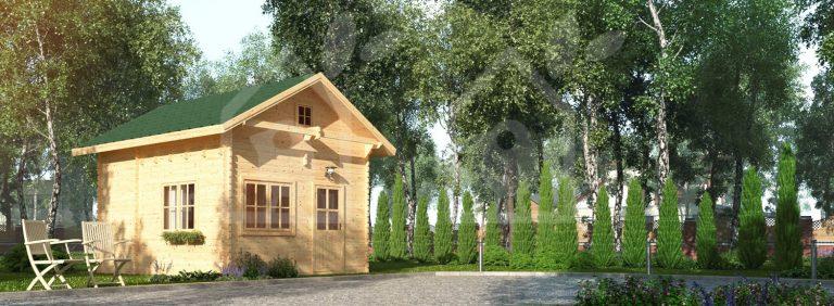 Stort anneks med hems fra solundhuse.dk leveres i solidt grantræ og nemt at bygge