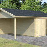 byg selv garage i træ fra Sølundhuse.dk denne garage er 30m2 og leveres frit og som komplet samlesæt