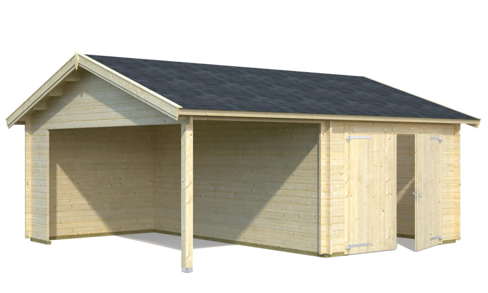 Sølund Huse: byg selv garage i træ med carport   Garage m