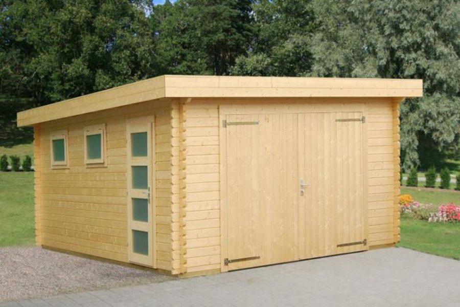 Denne model Novel er en garage med fladt tag fra Solundhuse.dk