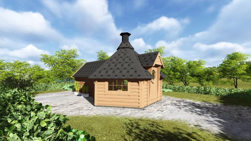 Saunahytte til haven fra solundhuse.dk i solid træ så du kan holde varmen