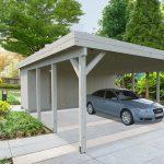 Sølund Huse Carport med skur og plads til to biler. Lavet i solid træ