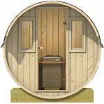 Sauna med glasdør og vinduer fra Sølund Huse