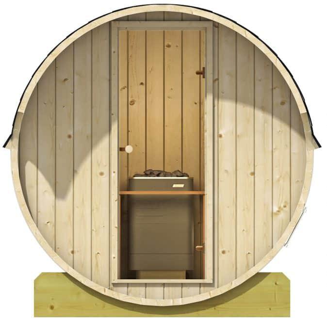 sauna med glasdør fra sølund huse