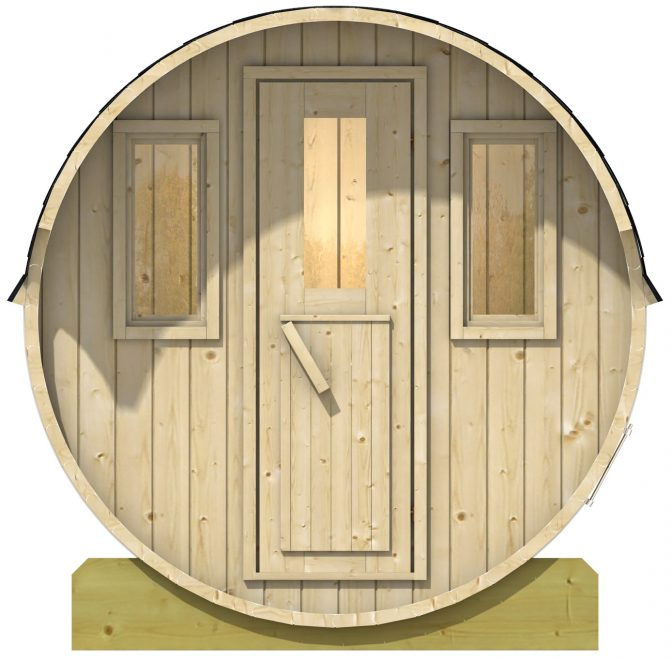 sauna fra sølund huse med trædør