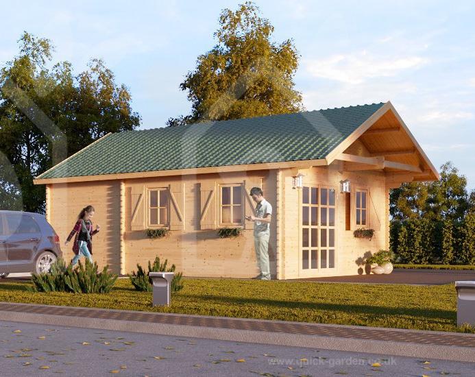Bjælkehus med dobbelt hems fra Solundhuse.dk