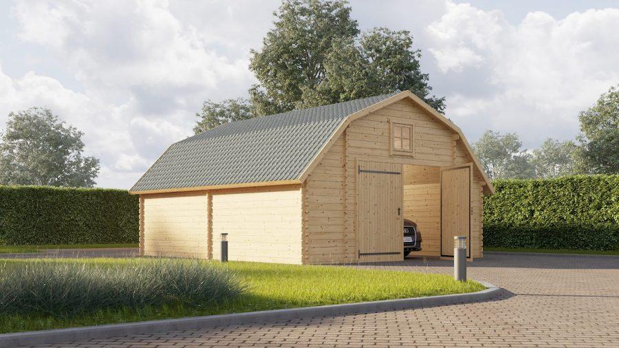 Super lækker byg selv garage hos sølundhuse.dk lavet a nordisk grantræ og sælges som komplet samlesæt