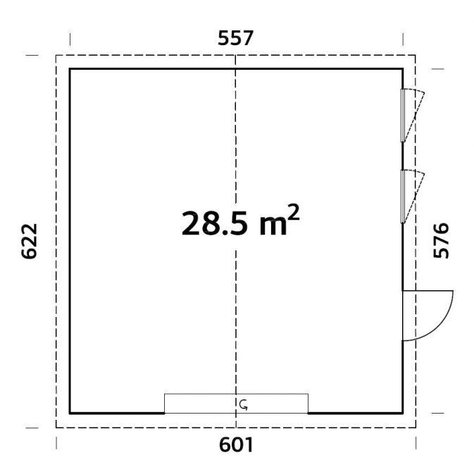 28,5 m2 - 550 plantegning træ garage