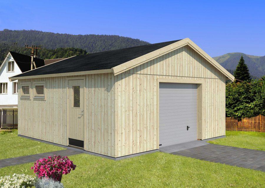 28,5 m2 - 550 Træ garage med port, dør og to vinduer