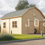 Klassisk 27 m2 garage til salg hos Sølundhuse.dk bygget i solid grantræ med stort vindues parti og ekstra indgang fra enkeldør