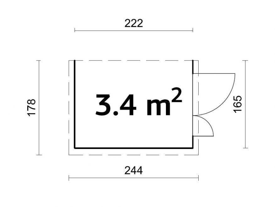 Mia 3,4 m2 lille redskabsskur