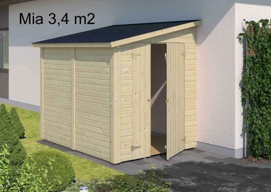 Mia 3,4 m2 lille skur op af mur fra solundhuse.dk