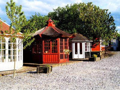 Have pavillon fra Sølund huses udstilling i hovedgaard