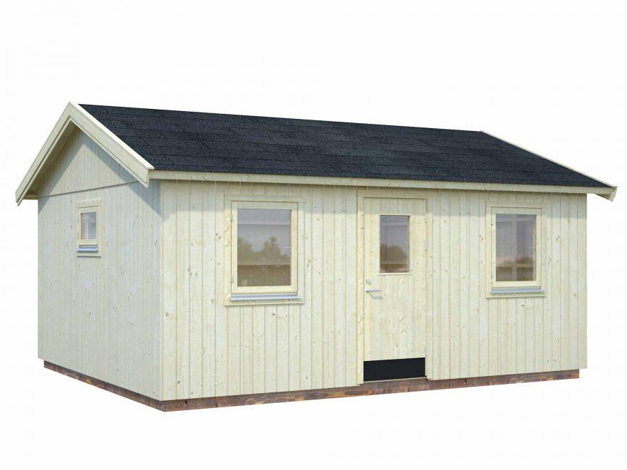 Maria havehus 21,5 m2 med 3 vinduer og 1 dør