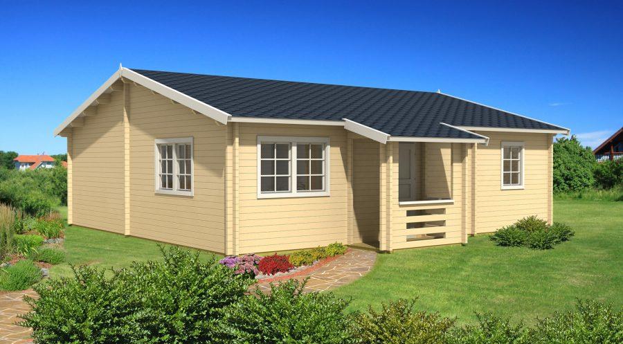 stor bjælkehytte hos solundhuse.dk dette hus er 70m2 og til salg