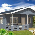 kolonihavehus med veranda fra solundhuse.dk leveres som komplet samlesæt