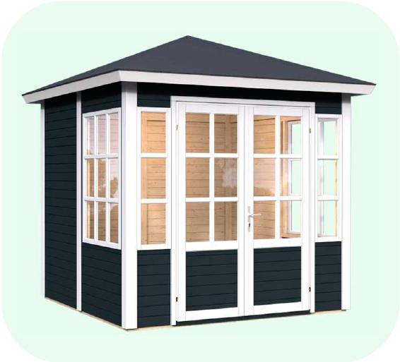 Tepavillon i antracit grå fra solundhuse.dk leveres i hele elementer og færdigmalet