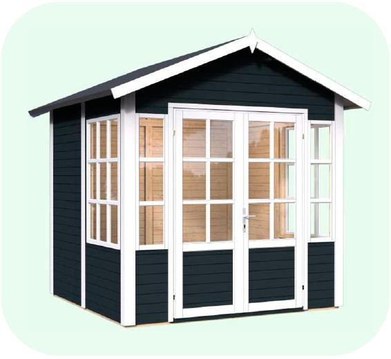 færdigmalet lille havehus eller havepavillon fra solundhuse