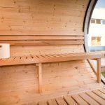 Sauna fra sølundhuse.dk set indefra