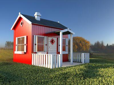 Lille anders et stort legehus fra sølundhuse.dk legehus med hems, udhæng og terrasse.