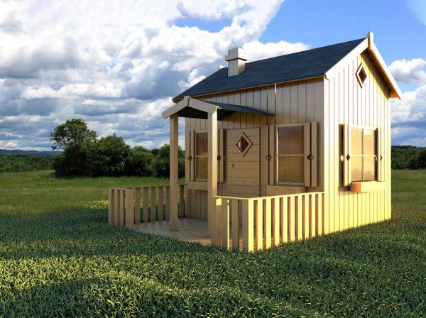 Lille anders et stort legehus fra sølundhuse.dk Legehuset fåes med udhæng terrasse og hems. Levers helt komplet og umalet