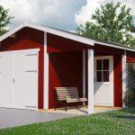 færdigmalet garage fra www.sølundhuse.dk i træ