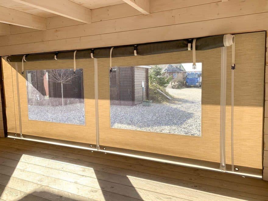Shelter cover i høj kvalitet set indefra et sølund huse shelter